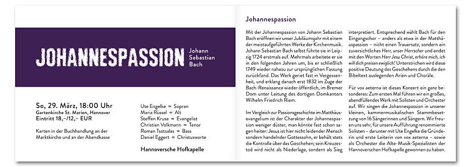 """Doppelseite """"Johannespassion"""" des Konzerfolders 2020 des 16-stimmigen Vokalensembles vox aeterna aus Hannover, gestaltet von stefanie lombert : grafikdesign"""
