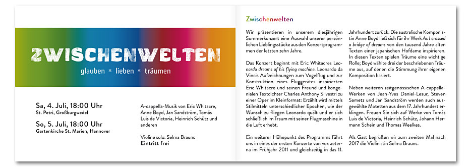 """Doppelseite """"Zwischenwelten"""" des Konzerfolders 2020 des 16-stimmigen Vokalensembles vox aeterna aus Hannover, gestaltet von stefanie lombert : grafikdesign"""