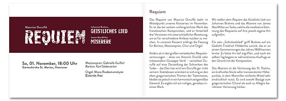 """Doppelseite """"Requiem"""" des Konzerfolders 2020 des 16-stimmigen Vokalensembles vox aeterna aus Hannover, gestaltet von stefanie lombert : grafikdesign"""