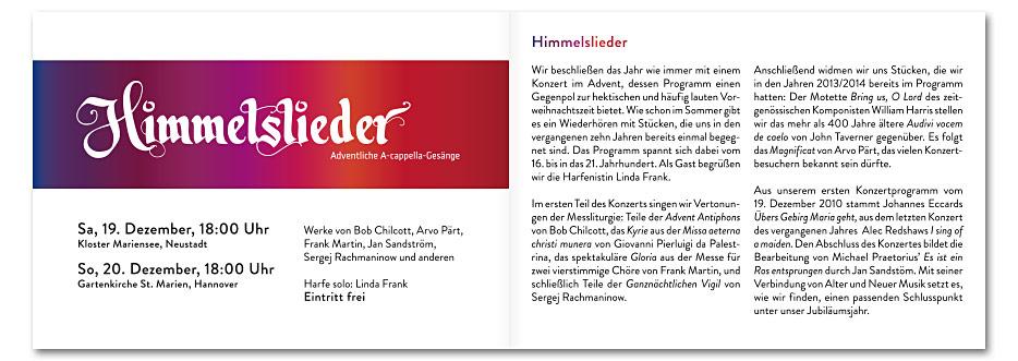 """Doppelseite """"Himmelslieder"""" des Konzerfolders 2020 des 16-stimmigen Vokalensembles vox aeterna aus Hannover, gestaltet von stefanie lombert : grafikdesign"""