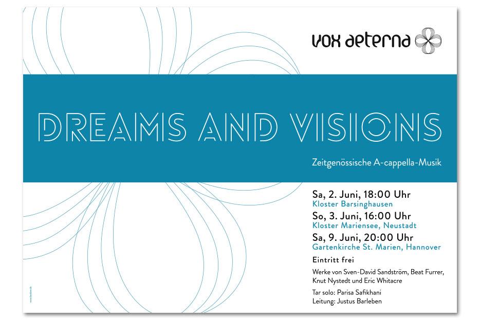 Konzertplakat Juni 2018 für das hannoversche Vokalensemble vox aeterna gestaltet von stefanie lombert : grafikdesign Hannover