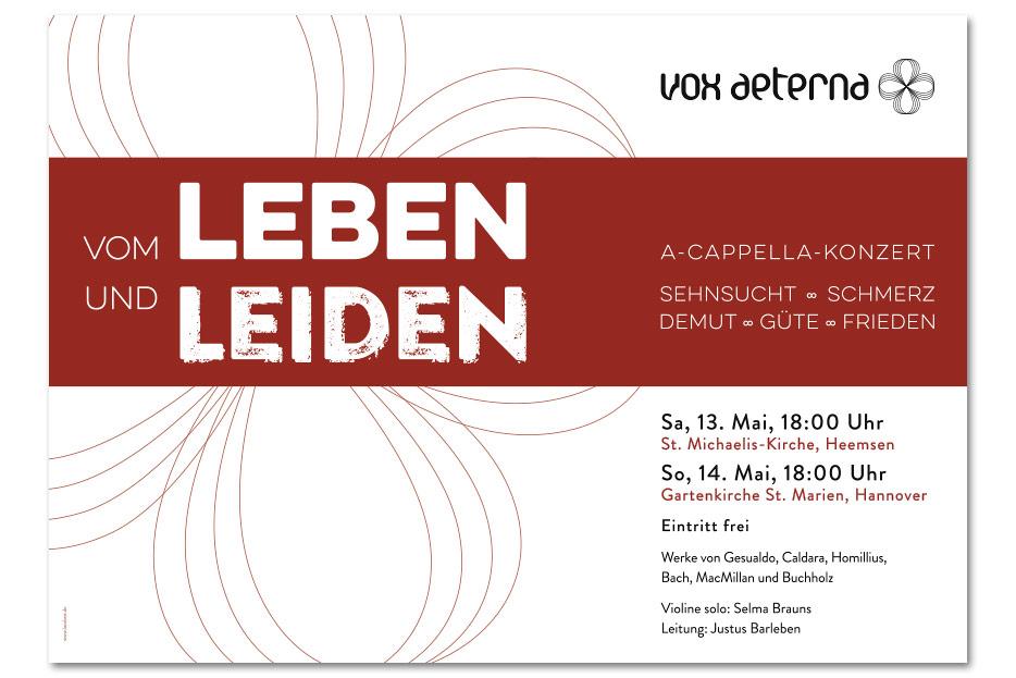 Konzertplakat Mai 2017 für das hannoversche Vokalensemble vox aeterna gestaltet von stefanie lombert : grafikdesign Hannover