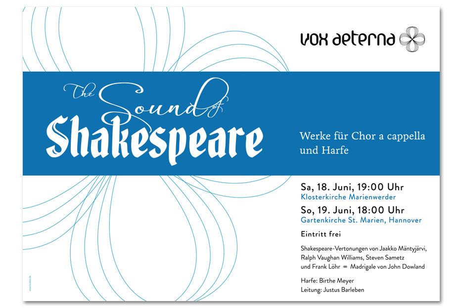 Konzertplakat Juni 2016 für das hannoversche Vokalensemble vox aeterna gestaltet von stefanie lombert : grafikdesign Hannover