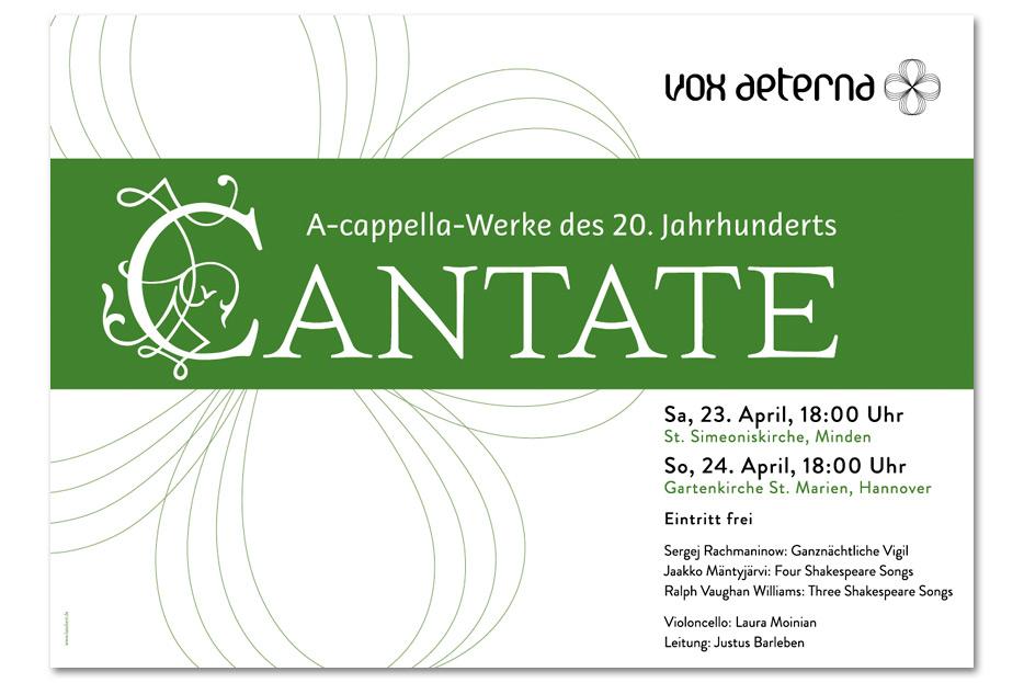 Konzertplakat April 2016 für das hannoversche Vokalensemble vox aeterna gestaltet von stefanie lombert : grafikdesign Hannover