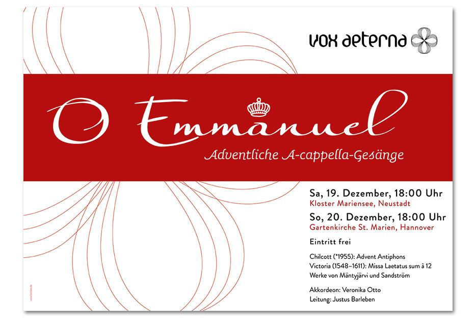 Konzertplakat Dezember 2015 für das hannoversche Vokalensemble vox aeterna gestaltet von stefanie lombert : grafikdesign Hannover