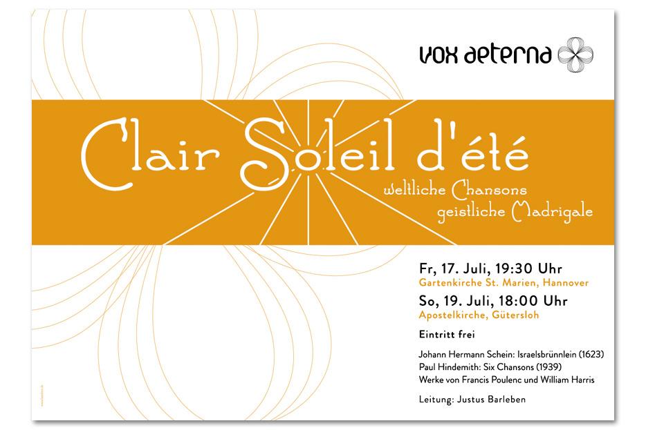 Konzertplakat Juli 2015 für das hannoversche Vokalensemble vox aeterna gestaltet von stefanie lombert : grafikdesign Hannover