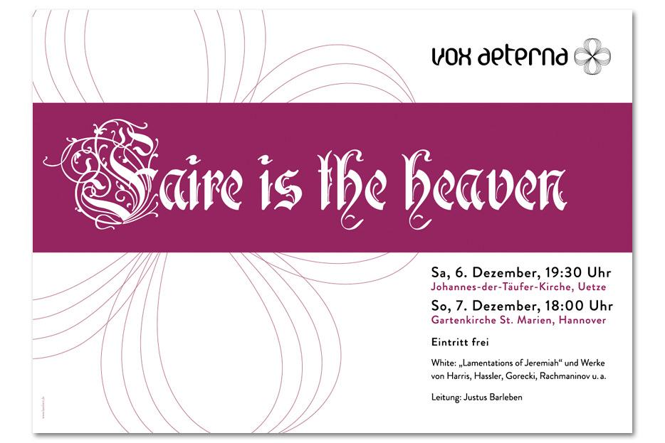 Konzertplakat Dezember 2014 für das hannoversche Vokalensemble vox aeterna gestaltet von stefanie lombert : grafikdesign Hannover