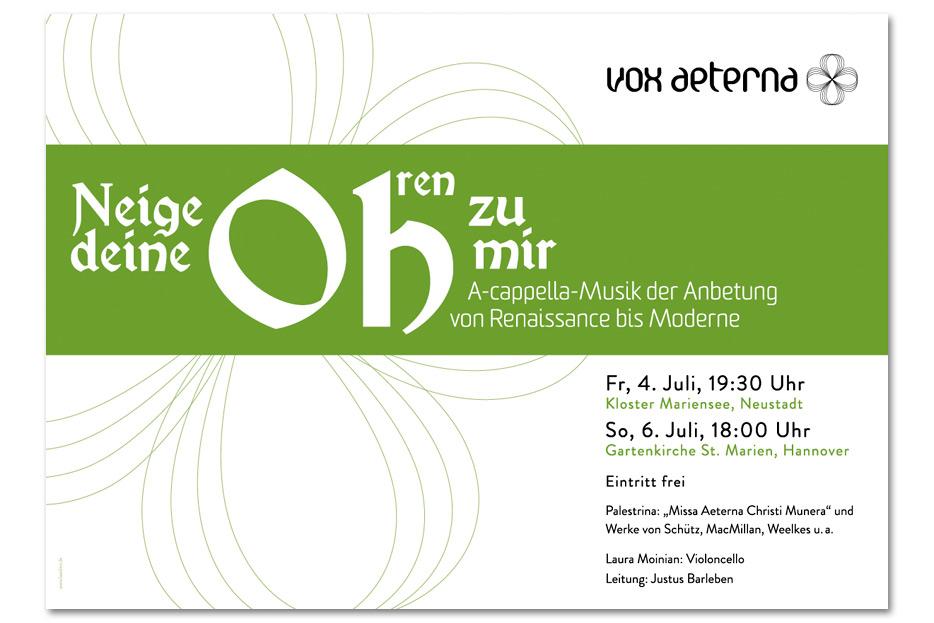 Konzertplakat Juli 2014 für das hannoversche Vokalensemble vox aeterna gestaltet von stefanie lombert : grafikdesign Hannover