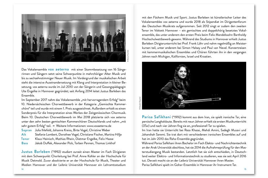 Doppelseite 2 Konzertprogrammheft Juni 2018 des Vokalensembles vox aeterna gestaltet von stefanie lombert : grafikdesign Hannover