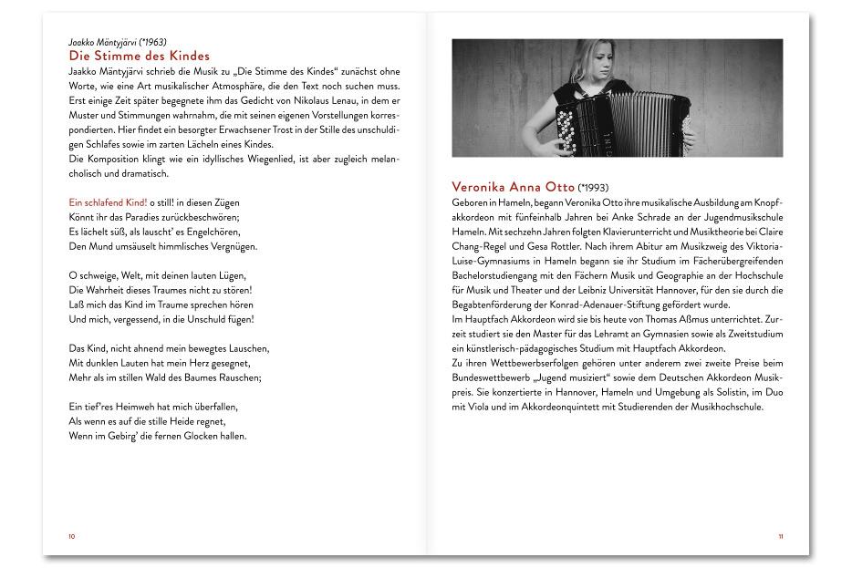 Doppelseite 2 Konzertprogrammheft Dezember 2015 des Vokalensembles vox aeterna gestaltet von stefanie lombert : grafikdesign Hannover