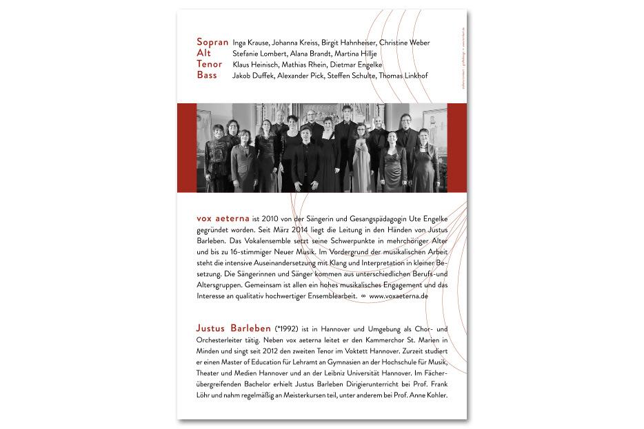 Rückseite Konzertprogrammheft Dezember 2015 des Vokalensembles vox aeterna gestaltet von stefanie lombert : grafikdesign Hannover