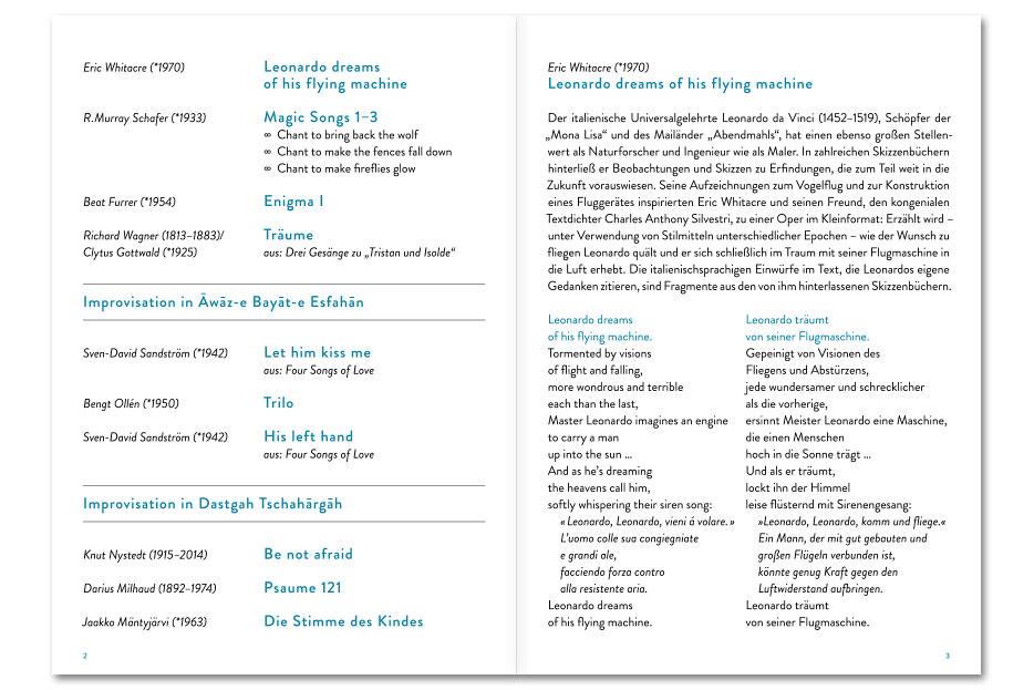 Doppelseite 1 Konzertprogrammheft Juni 2018 des Vokalensembles vox aeterna gestaltet von stefanie lombert : grafikdesign Hannover