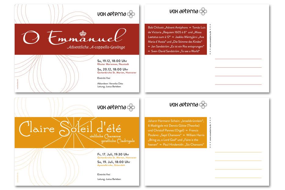 Werbeflyer für Konzerte des Vokalensembles vox aeterna gestaltet von stefanie lombert : grafikdesign Hannover