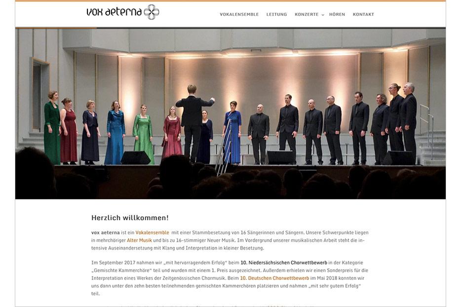Starseite des Internetauftritts von vox aeterna, 16-stimmiges Vokalensemble aus Hannover, gestaltet von stefanie lombert : grafikdesign