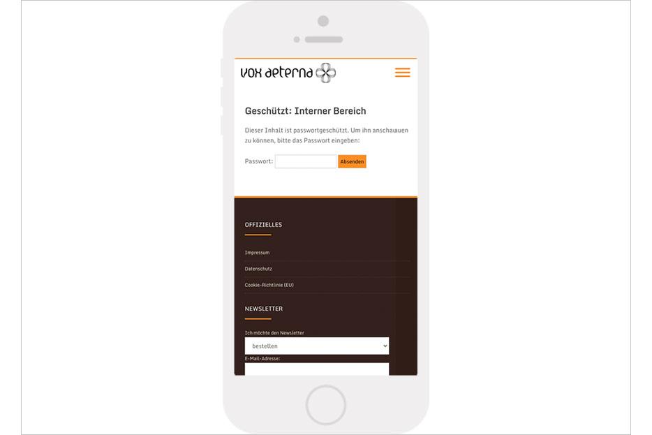 """Mobile Unterseite """"Interner Bereich"""" des Internetauftritts von vox aeterna, 16-stimmiges Vokalensemble aus Hannover, gestaltet von stefanie lombert : grafikdesign"""