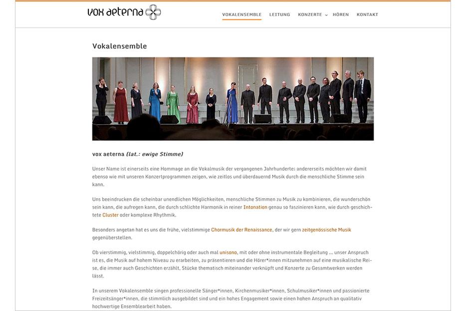 """Unterseite """"Vokalensemble"""" des Internetauftritts von vox aeterna, 16-stimmiges Vokalensemble aus Hannover, gestaltet von stefanie lombert : grafikdesign"""