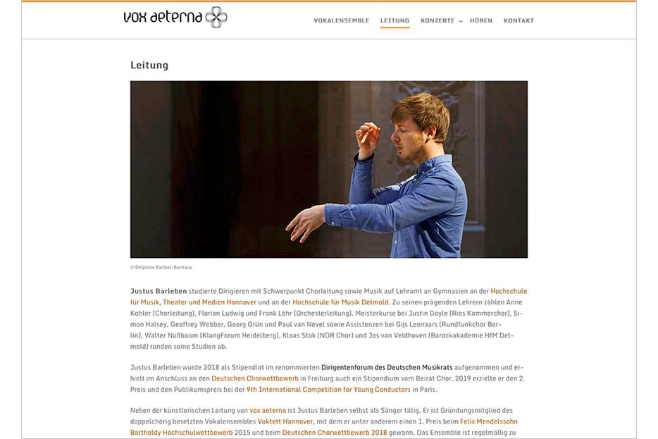 """Unterseite """"Leitung"""" des Internetauftritts von vox aeterna, 16-stimmiges Vokalensemble aus Hannover, gestaltet von stefanie lombert : grafikdesign"""
