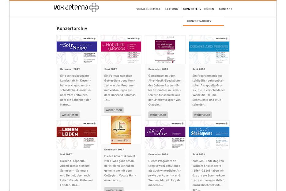 """Unterseite """"Konzertarchiv"""" des Internetauftritts von vox aeterna, 16-stimmiges Vokalensemble aus Hannover, gestaltet von stefanie lombert : grafikdesign"""