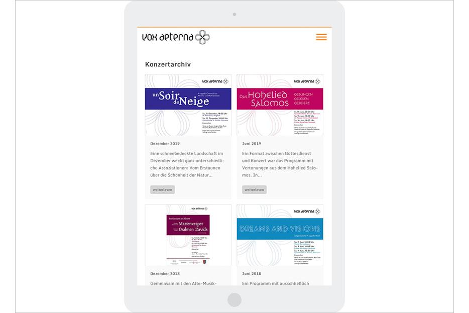 """Unterseite """"Konzertarchiv"""" in Tablet-Ansicht des Internetauftritts von vox aeterna, 16-stimmiges Vokalensemble aus Hannover, gestaltet von stefanie lombert : grafikdesign"""