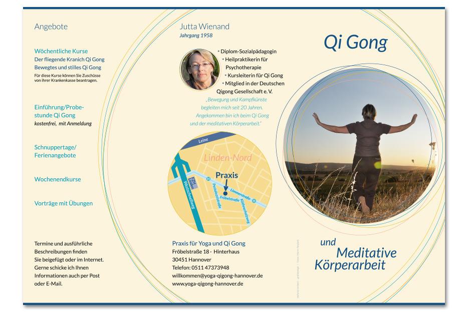 Imagefolder für die Qi-Gong-Praxis von Jutta Wienand gestaltet von stefanie lombert : grafikdesign Hannover