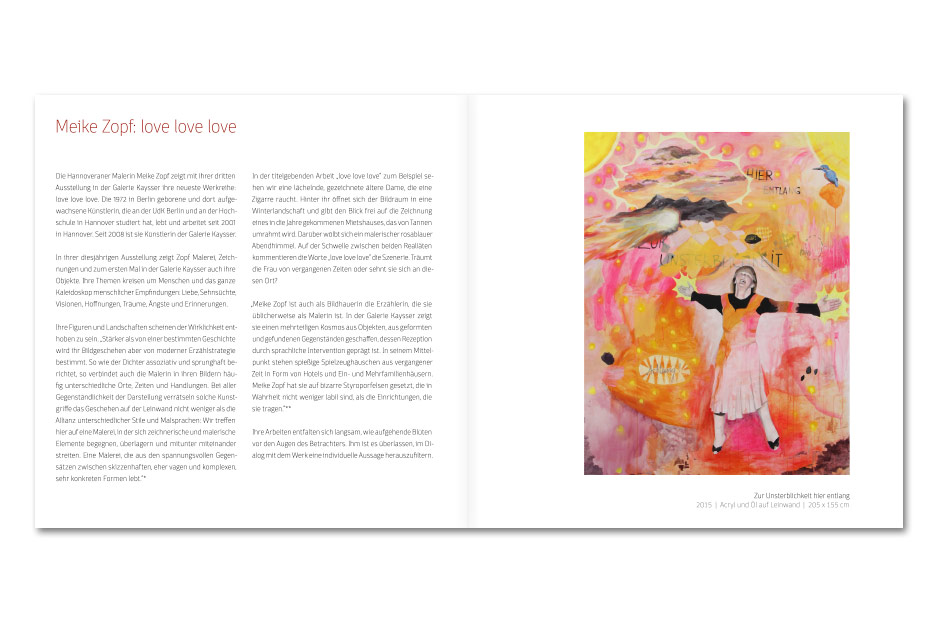 """Doppelseite mit Einleitungstext des Ausstellungskataloges """"love love love"""" für die Künstlerin Meike Zopf"""